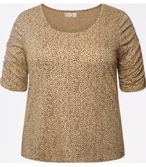 maurices plus size womens 24/7 animal print rouched sleeve tee beige