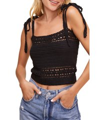 women's astr the label everly tie shoulder crochet crop camisole, size x-small - black