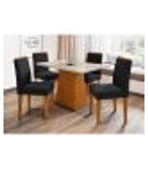 conjunto de mesa de jantar com tampo de vidro jasmin e 4 cadeiras ana ii veludo off white e preto