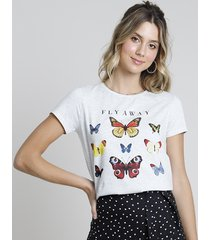 "blusa feminina ""fly away"" borboletas manga curta decote redondo cinza mescla claro"