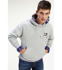tommy hilfiger men's organic cotton badge hoodie light grey heather - xl