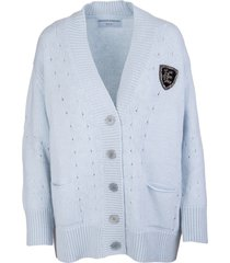 ermanno scervino light blue maxi cardigan in solid color cashmere blend