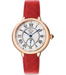 rome stainless steel, diamond & vegan leather-strap watch