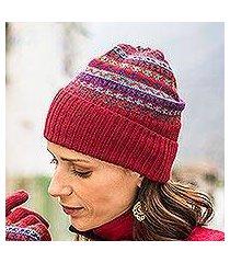 100% alpaca knit hat, 'andean art' (peru)