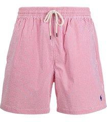 polo ralph lauren striped swim shorts - vermelho