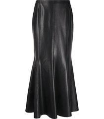 nanushka vegan leather maxi-skirt - black