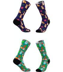 men's and women's corgi fruit and flower socks, set of 2