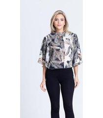 blusa clara arruda decote cruzado estampada 20440 - feminino