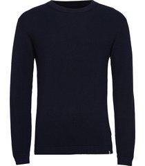 pedersen gebreide trui met ronde kraag blauw minimum