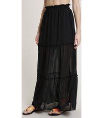 saia feminina triya longa estampada animal print onça com recortes preta