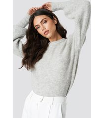 na-kd trend alpaca wool blend balloon sleeve sweater - grey