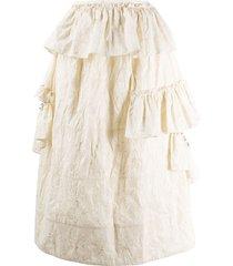 simone rocha pearl embellished ruffle skirt - neutrals