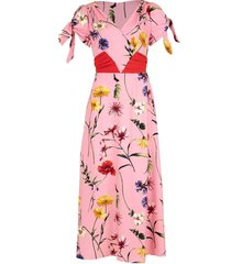 short sleeve belted floral midi dress