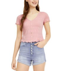 hippie rose juniors' button-trimmed lace top