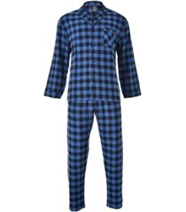 hanes men's flannel plaid pajama set