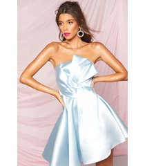 boohoo occasion pleat mesh skater dress, pastel blue