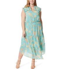 jessica simpson trendy plus size katie printed ruffle dress
