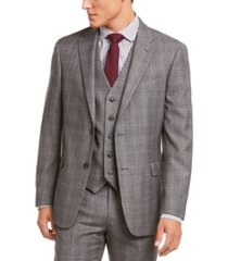 tommy hilfiger men's modern-fit thflex stretch gray/black plaid suit separate jacket