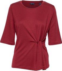 d1. waist knot top t-shirts & tops short-sleeved röd gant