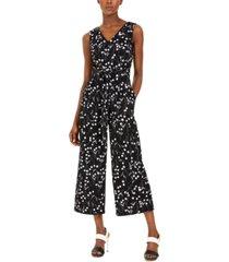 calvin klein cropped floral-print jumpsuit