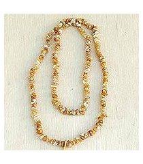 calcite long beaded necklace, 'sunny beach' (brazil)