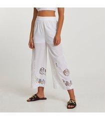 river island womens white wide crochet trim pants