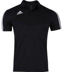 camisa polo adidas tiro 19 - masculina - preto/branco