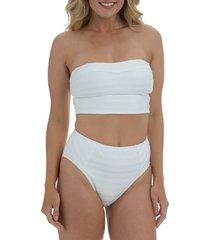 la blanca linea bandeau midkini swim top, size 14 in white at nordstrom