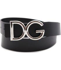 dolce & gabbana black leather belt with logo