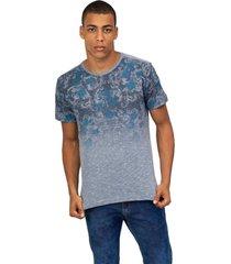 camiseta masculina estampada azul