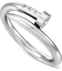 inc men's silver-tone twisted nail ring, created for macy's