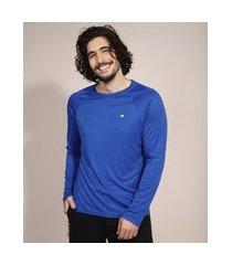 camiseta esportiva ace ciclismo com proteção uv50+ manga longa gola careca azul