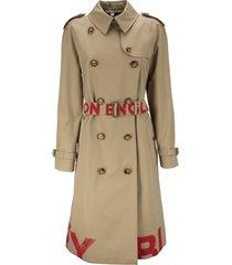 burberry waterloo - logo print cotton gabardine trench coat