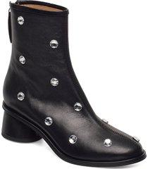 allison, 1077 black crystal boots shoes boots ankle boots ankle boot - heel svart stine goya