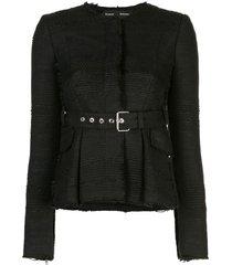proenza schouler tweed belted jacket - black