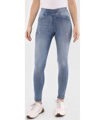 calça jeans malwee jegging destroyed azul