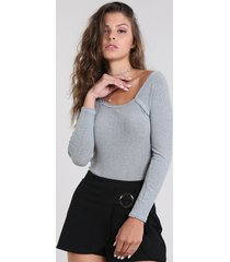 blusa feminina básica canelada manga longa decote redondo cinza