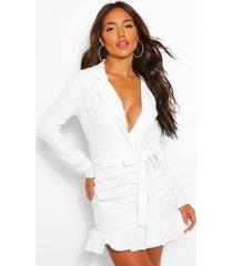blazer jurk met ceintuur, laag decolleté en ruches, wit