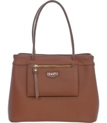 bolsa dhaffy bolsas grande caramelo, alça de ombro/mão bolso externo