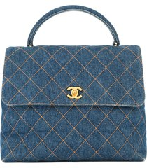 chanel pre-owned 1996-1997 diamond-quilted denim tote bag - blue