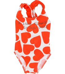 bobo choses heart-print scoop neck swimsuit - orange