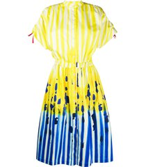stella jean striped shirt dress - yellow