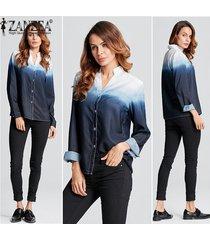 zanzea más el tamaño de la manera de las mujeres con cuello en v botón tops blusas de la camisa de manga larga atractiva señoras de la blusa floja del color del gradiente -azul