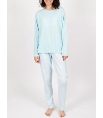 pyjama's / nachthemden admas innerwear pyjamatop en broek t-shirt enjoy vichy blue