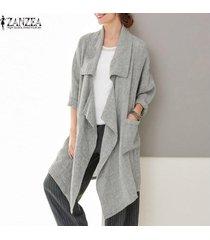 zanzea mujeres spring loose waterfall tunic coat cardigan blazer prendas de abrigo -gris claro