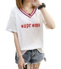 moda mujer verano con cuello en v t-shirt camiseta half-sleeve short-sleeved coreano