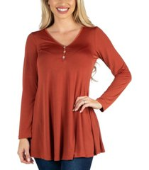 24seven comfort apparel long sleeve button v neck henley top