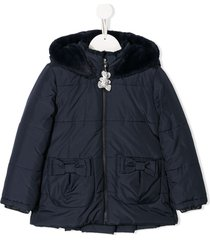 lapin house fur hooded jacket - blue