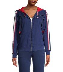 tommy hilfiger sport women's drop shoulder zip jacket - black - size m