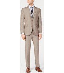 kenneth cole reaction men's big & tall ready flex slim-fit stretch tan suit